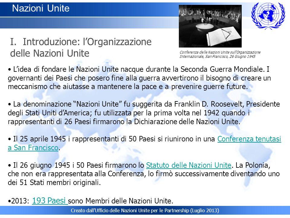 I. Introduzione: l'Organizzazione delle Nazioni Unite