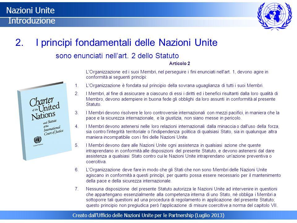 I principi fondamentali delle Nazioni Unite