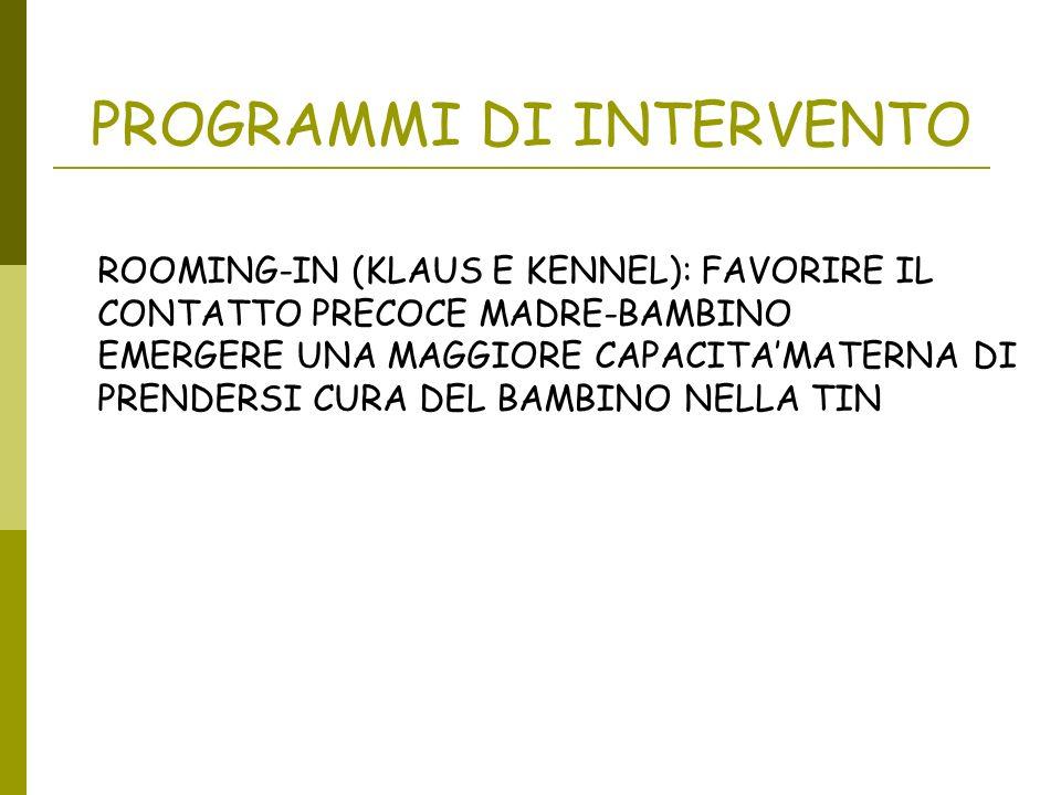 PROGRAMMI DI INTERVENTO