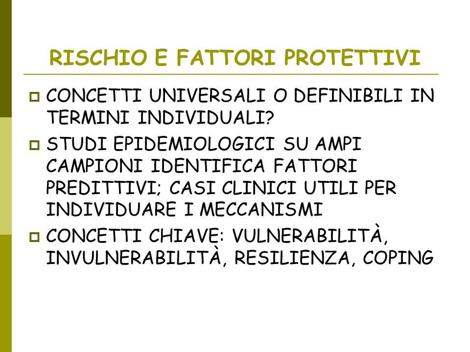 RISCHIO E FATTORI PROTETTIVI