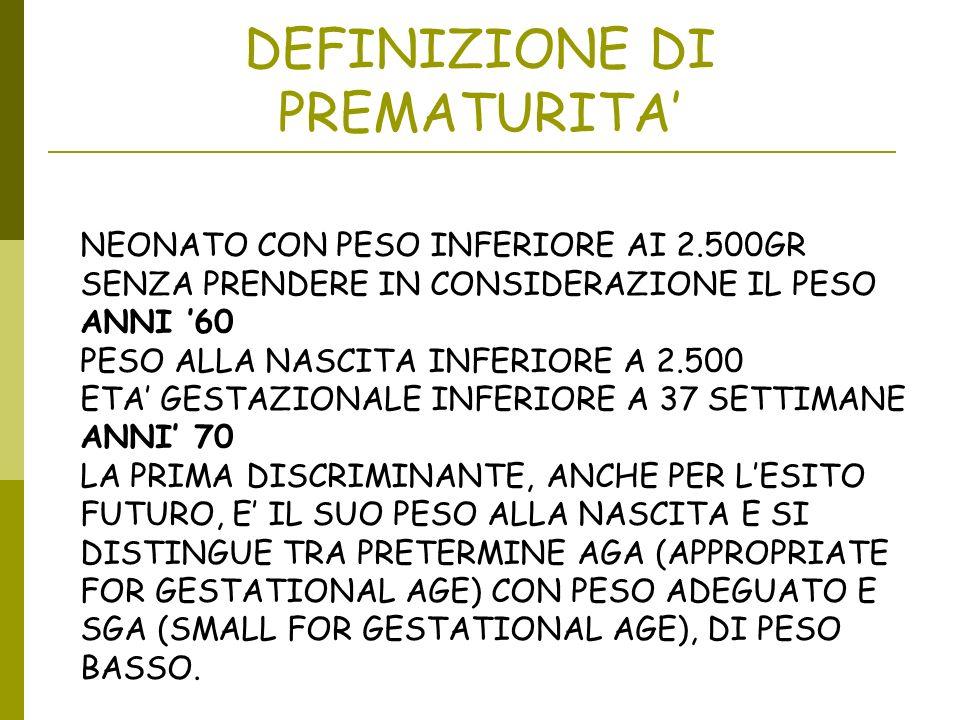 DEFINIZIONE DI PREMATURITA'