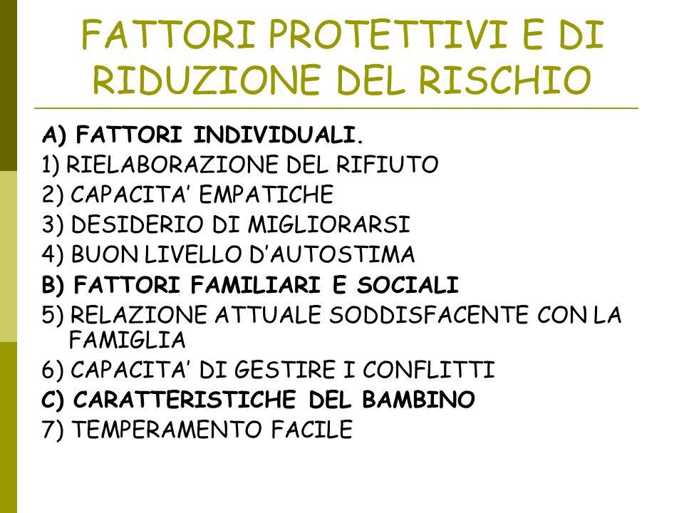 FATTORI PROTETTIVI E DI RIDUZIONE DEL RISCHIO