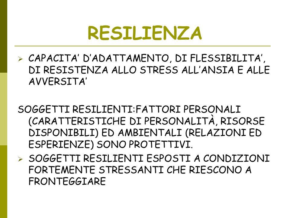 RESILIENZA CAPACITA' D'ADATTAMENTO, DI FLESSIBILITA', DI RESISTENZA ALLO STRESS ALL'ANSIA E ALLE AVVERSITA'