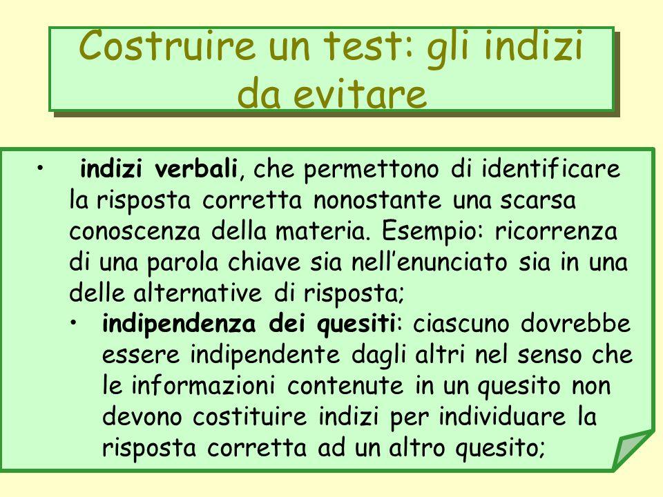 Costruire un test: gli indizi da evitare