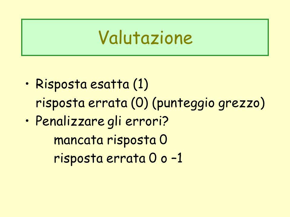 Valutazione Risposta esatta (1) risposta errata (0) (punteggio grezzo)