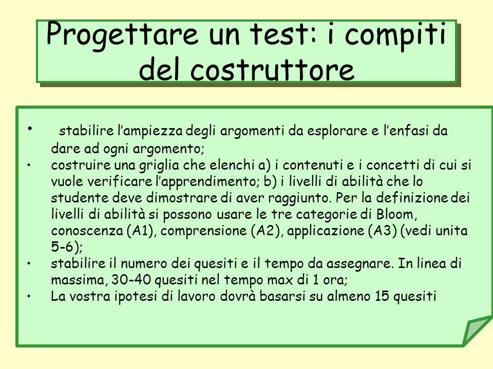 Progettare un test: i compiti del costruttore