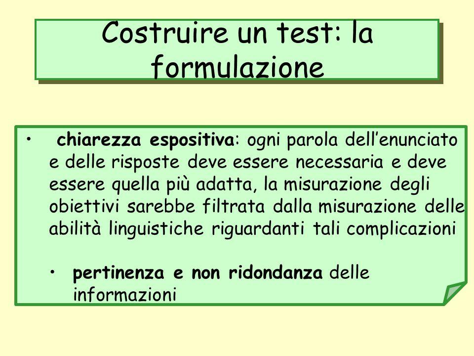 Costruire un test: la formulazione
