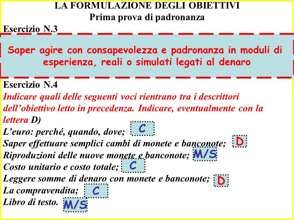 B C D M/S C D C M/S LA FORMULAZIONE DEGLI OBIETTIVI
