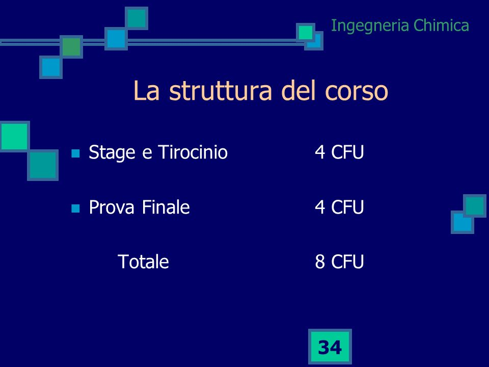 La struttura del corso Stage e Tirocinio 4 CFU Prova Finale 4 CFU