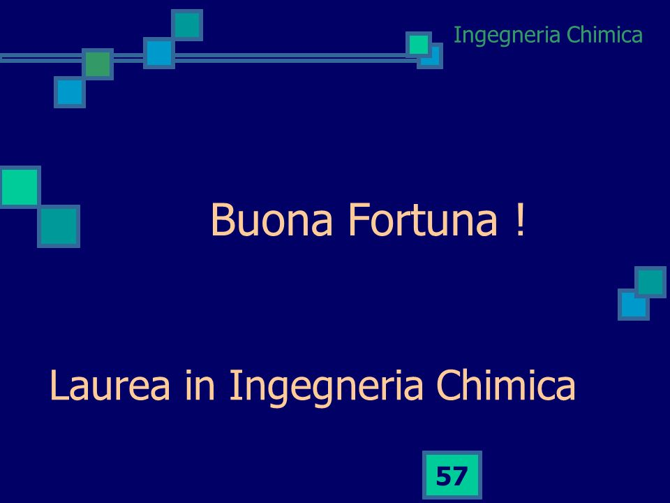 Buona Fortuna ! Laurea in Ingegneria Chimica
