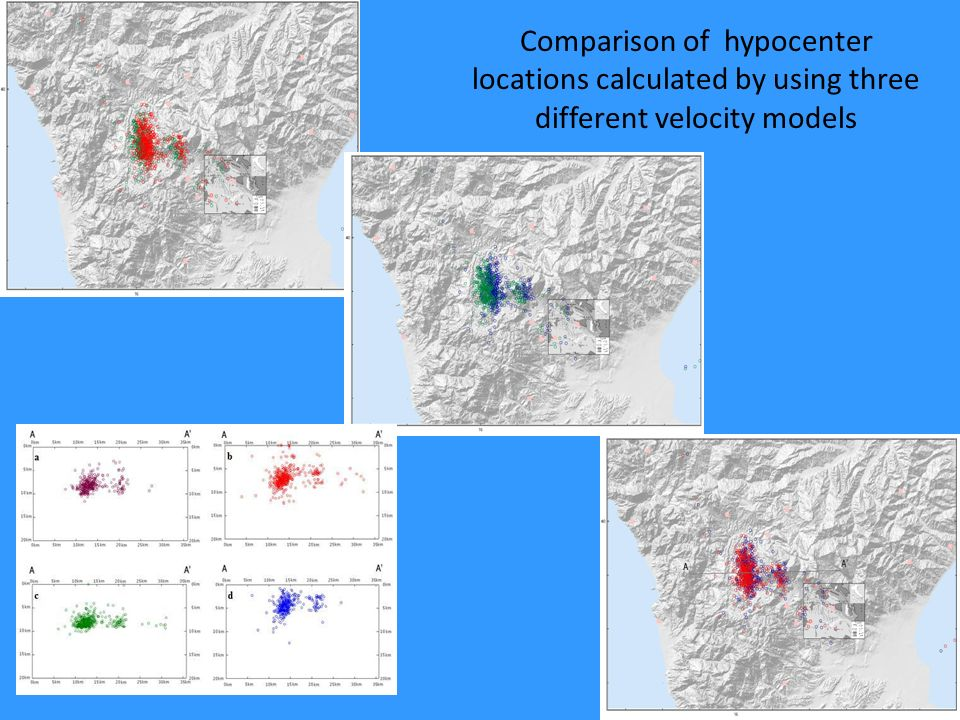 Comparison of hypocenter locations calculated by using three different velocity models