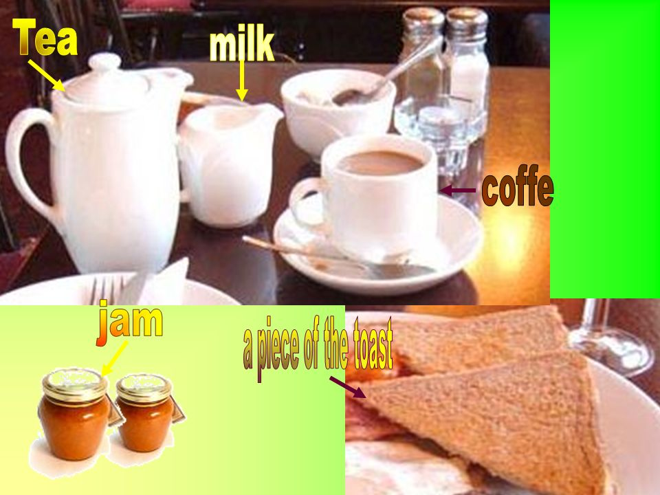Tea milk coffe jam a piece of the toast