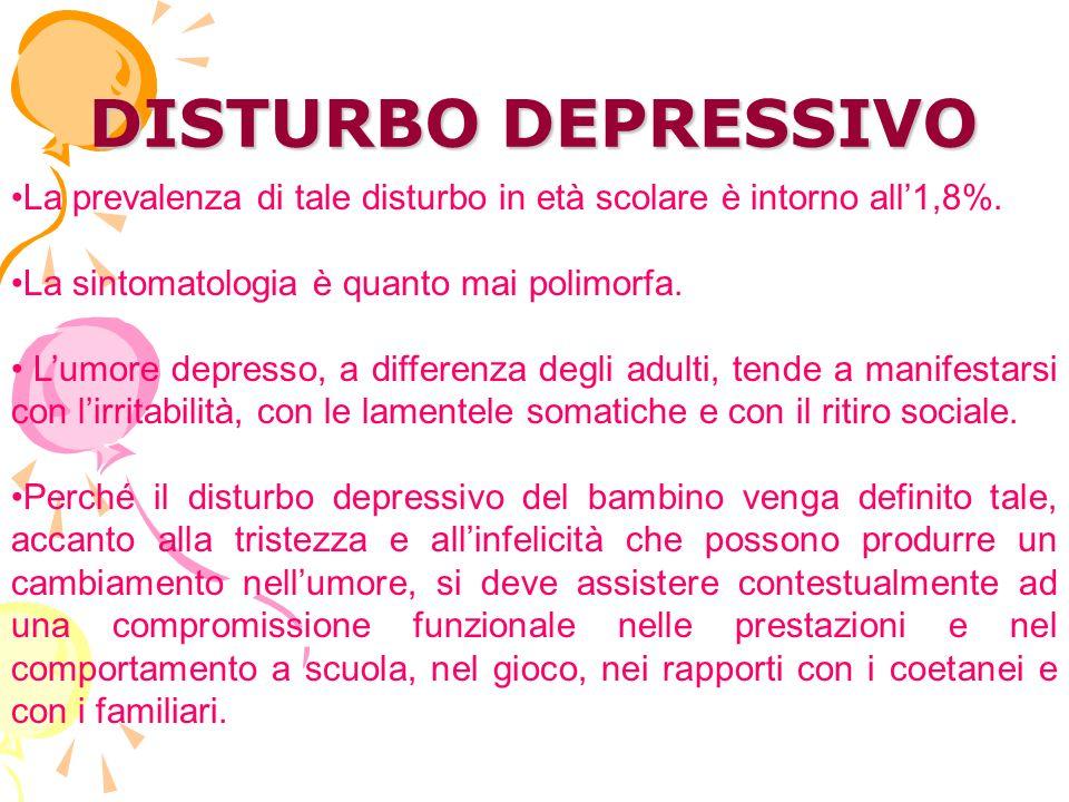 DISTURBO DEPRESSIVO La prevalenza di tale disturbo in età scolare è intorno all'1,8%. La sintomatologia è quanto mai polimorfa.