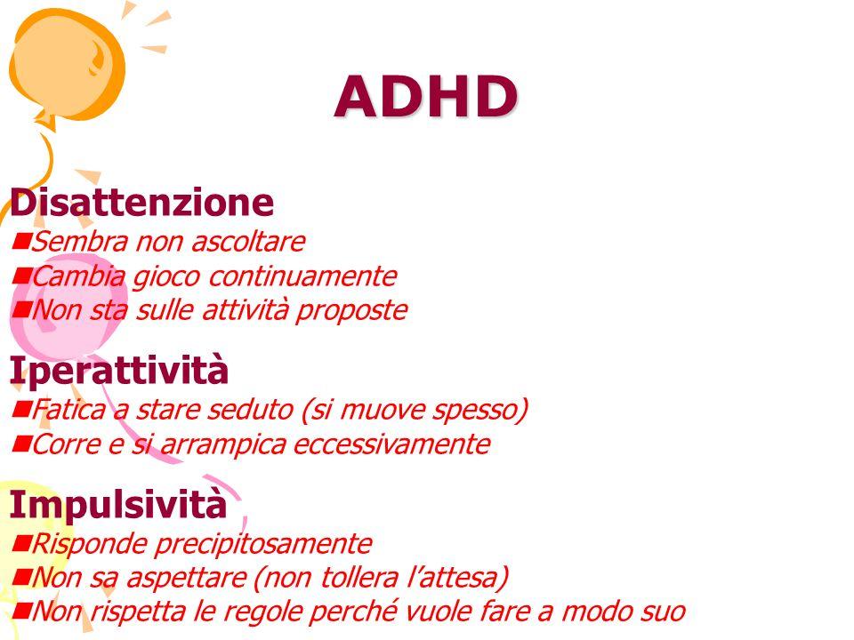 ADHD Disattenzione Iperattività Impulsività nSembra non ascoltare