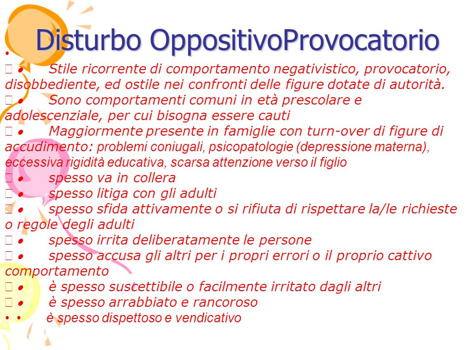 Disturbo OppositivoProvocatorio