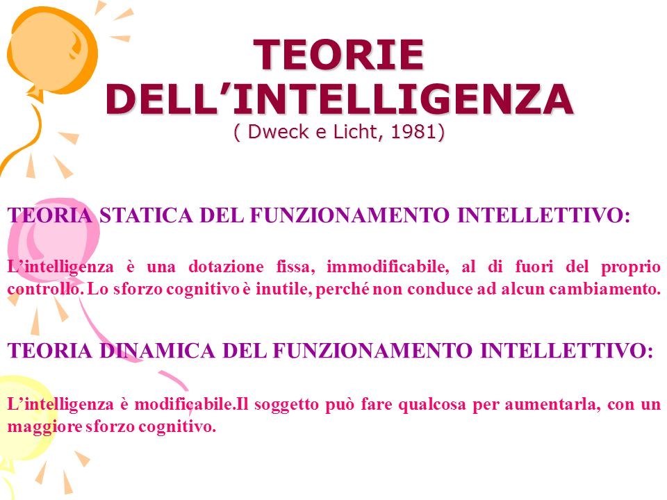 TEORIE DELL'INTELLIGENZA ( Dweck e Licht, 1981)
