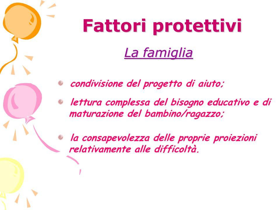 Fattori protettivi La famiglia condivisione del progetto di aiuto;