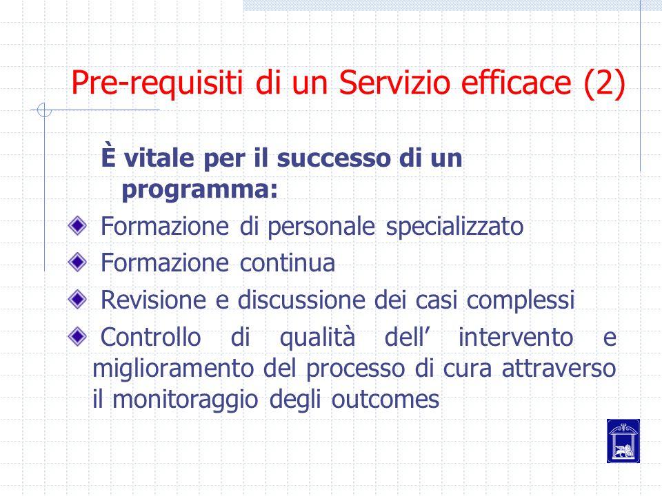 Pre-requisiti di un Servizio efficace (2)