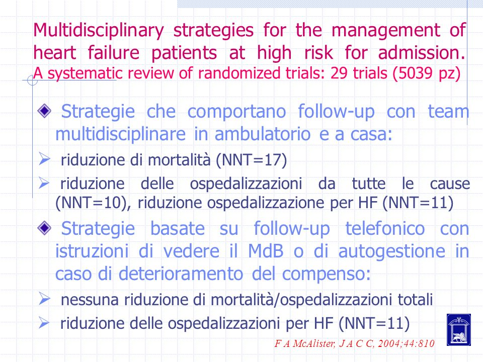 Multidisciplinary strategies for the management of heart failure patients at high risk for admission. A systematic review of randomized trials: 29 trials (5039 pz)