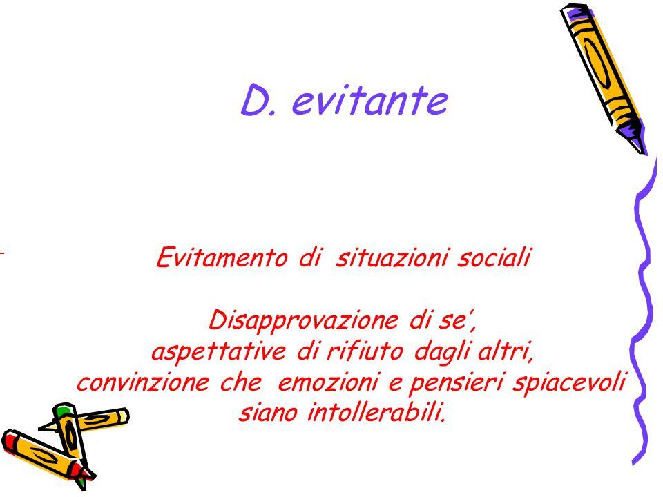 D. evitante Evitamento di situazioni sociali Disapprovazione di se',
