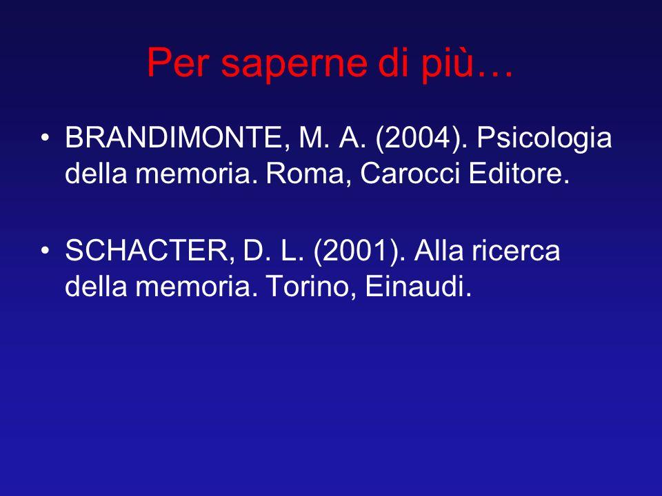 Per saperne di più… BRANDIMONTE, M. A. (2004). Psicologia della memoria. Roma, Carocci Editore.