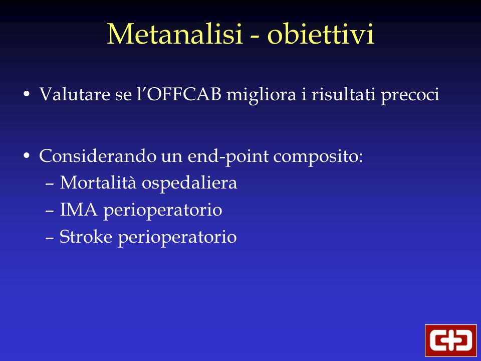 Metanalisi - obiettivi