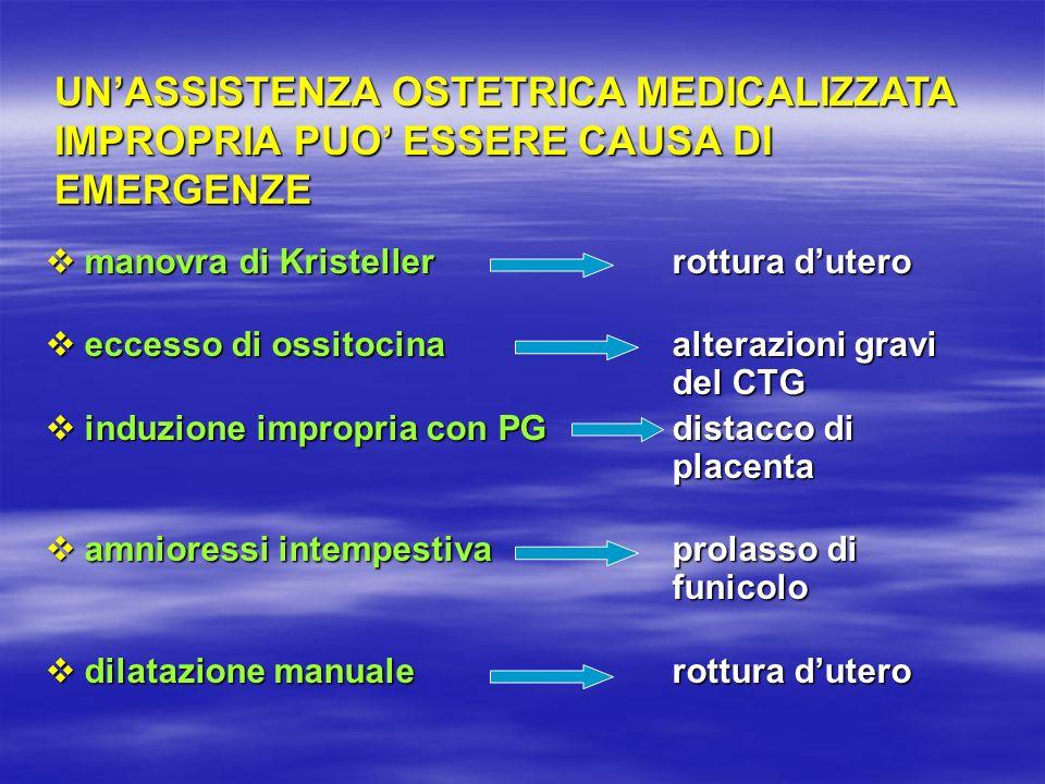 UN'ASSISTENZA OSTETRICA MEDICALIZZATA IMPROPRIA PUO' ESSERE CAUSA DI EMERGENZE