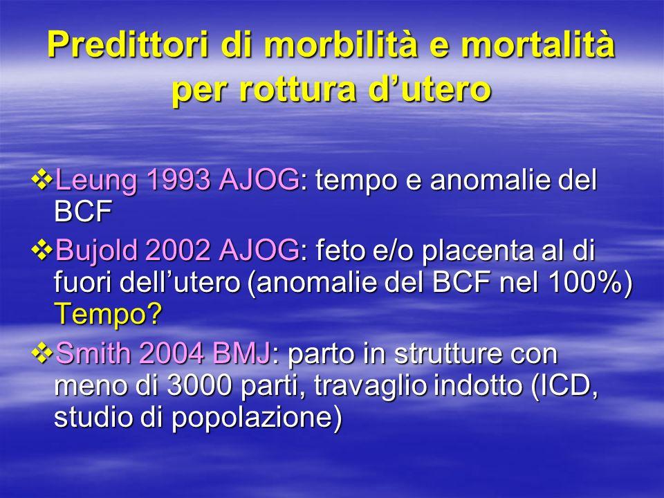 Predittori di morbilità e mortalità per rottura d'utero