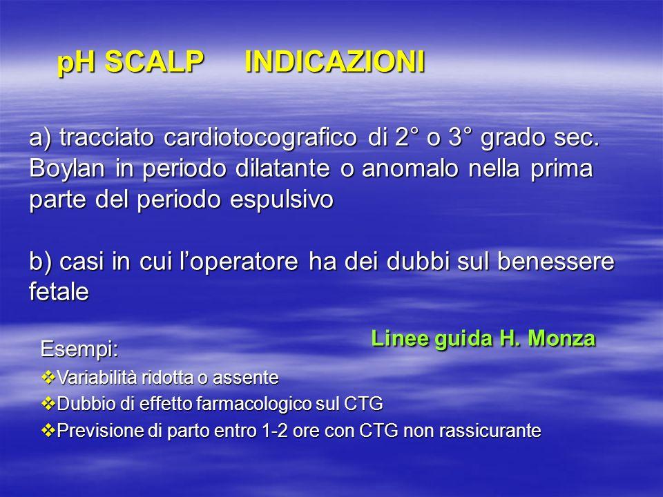 a) tracciato cardiotocografico di 2° o 3° grado sec