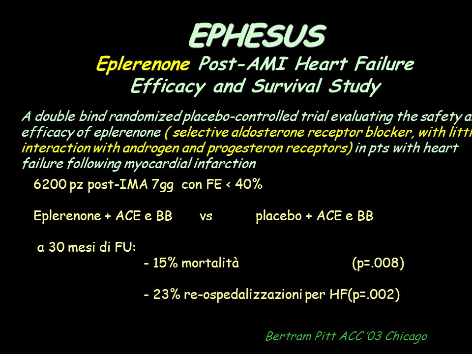 EPHESUS Eplerenone Post-AMI Heart Failure Efficacy and Survival Study