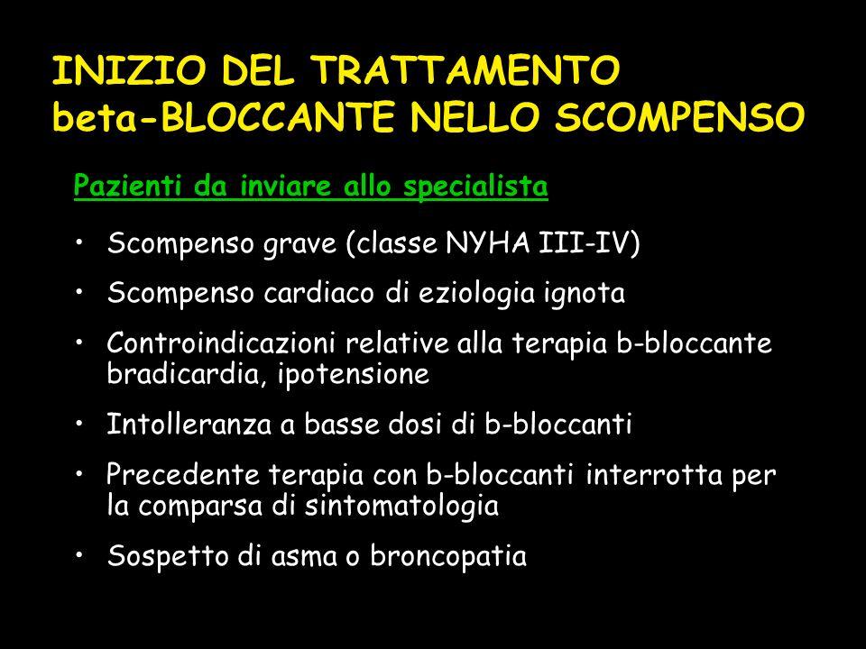 INIZIO DEL TRATTAMENTO beta-BLOCCANTE NELLO SCOMPENSO