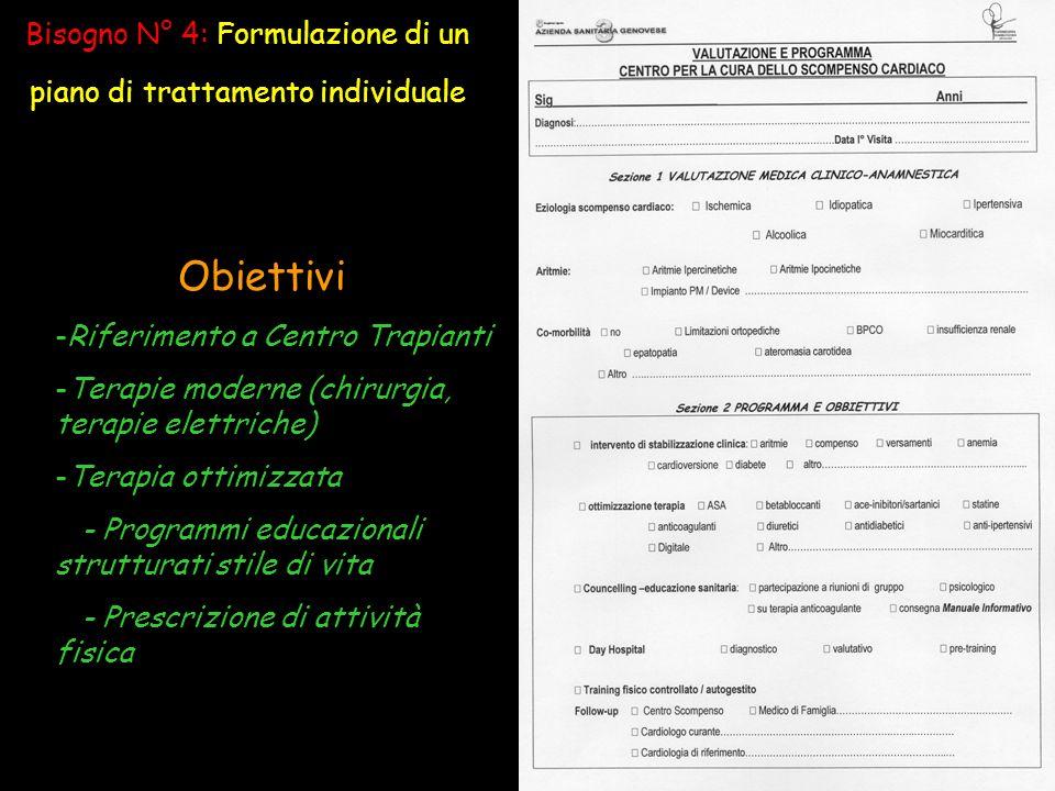 Bisogno N° 4: Formulazione di un piano di trattamento individuale