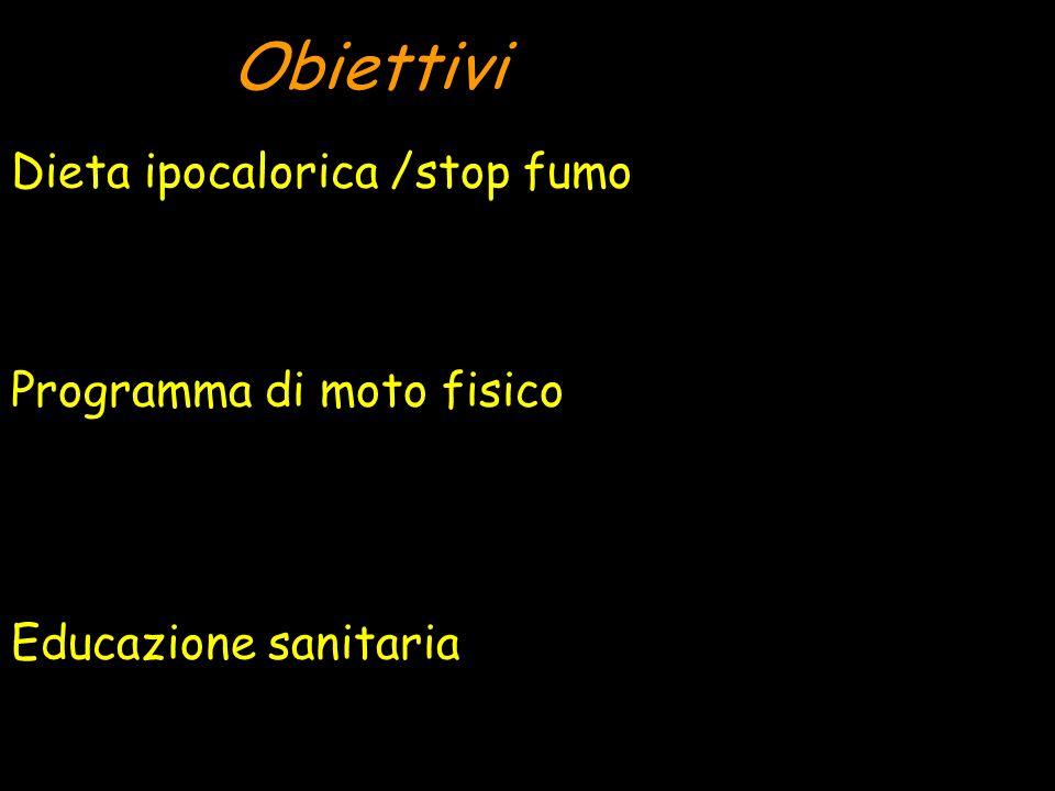 Obiettivi Dieta ipocalorica /stop fumo Programma di moto fisico