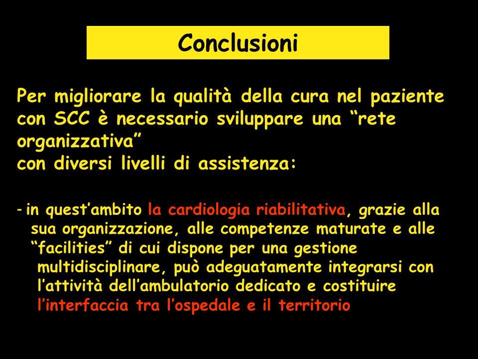Conclusioni Per migliorare la qualità della cura nel paziente con SCC è necessario sviluppare una rete organizzativa