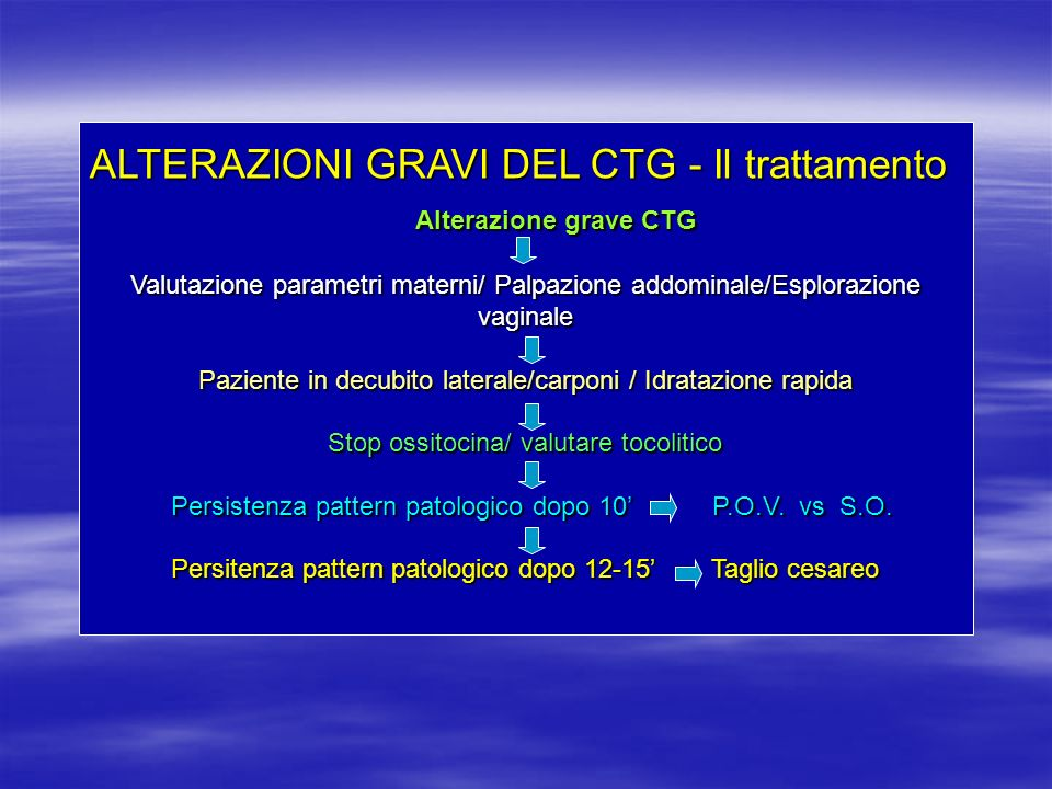 ALTERAZIONI GRAVI DEL CTG - Il trattamento