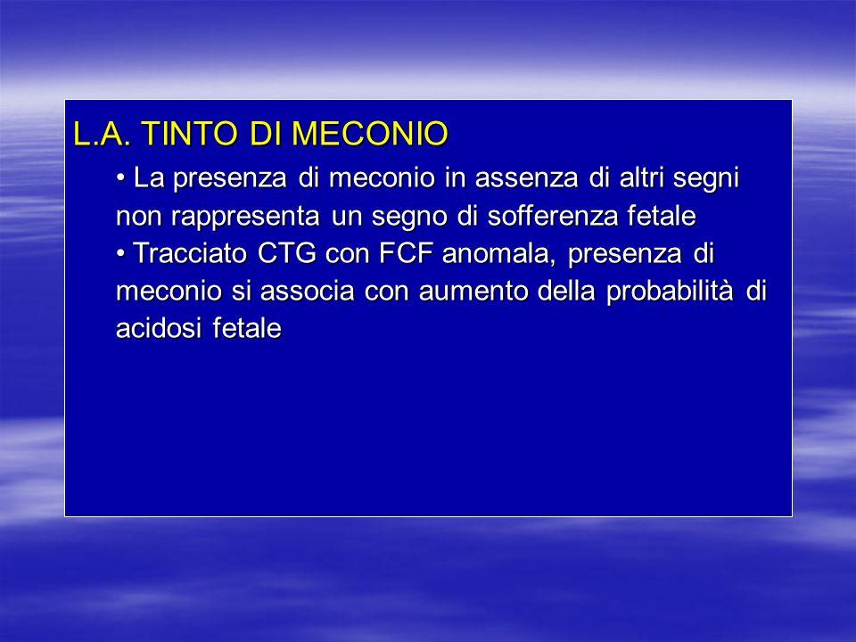 L.A. TINTO DI MECONIO La presenza di meconio in assenza di altri segni non rappresenta un segno di sofferenza fetale.