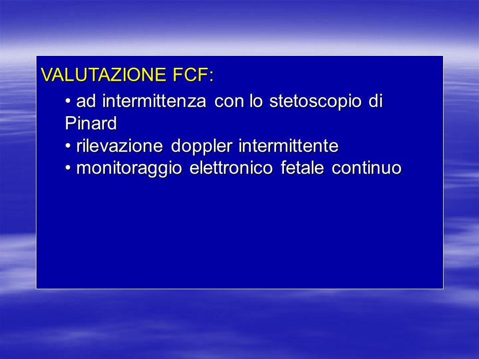 VALUTAZIONE FCF: ad intermittenza con lo stetoscopio di Pinard. rilevazione doppler intermittente.