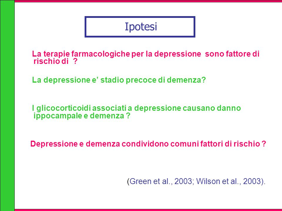 Ipotesi La terapie farmacologiche per la depressione sono fattore di rischio di La depressione e' stadio precoce di demenza