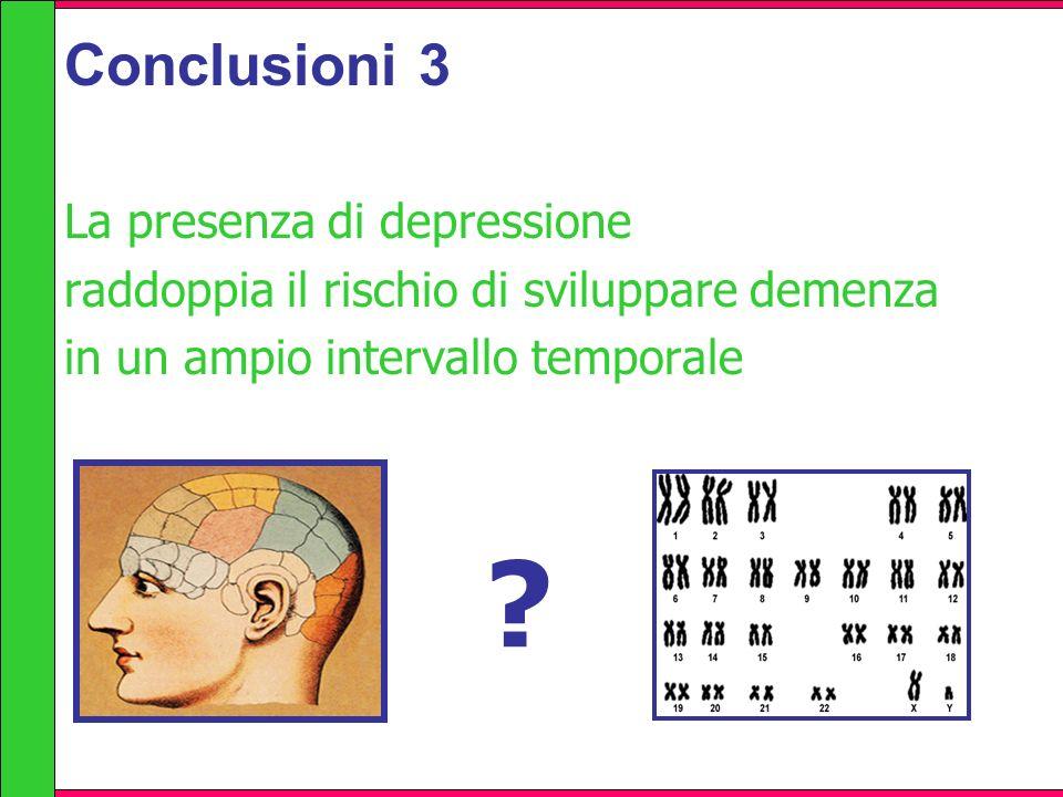 Conclusioni 3 La presenza di depressione