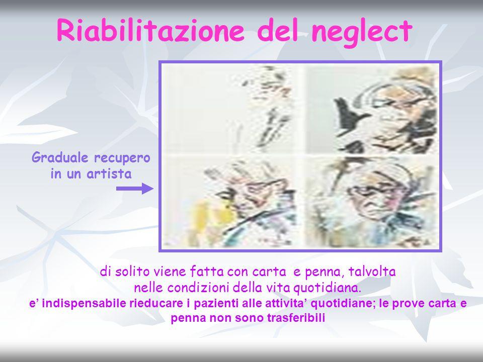 Riabilitazione del neglect Graduale recupero in un artista
