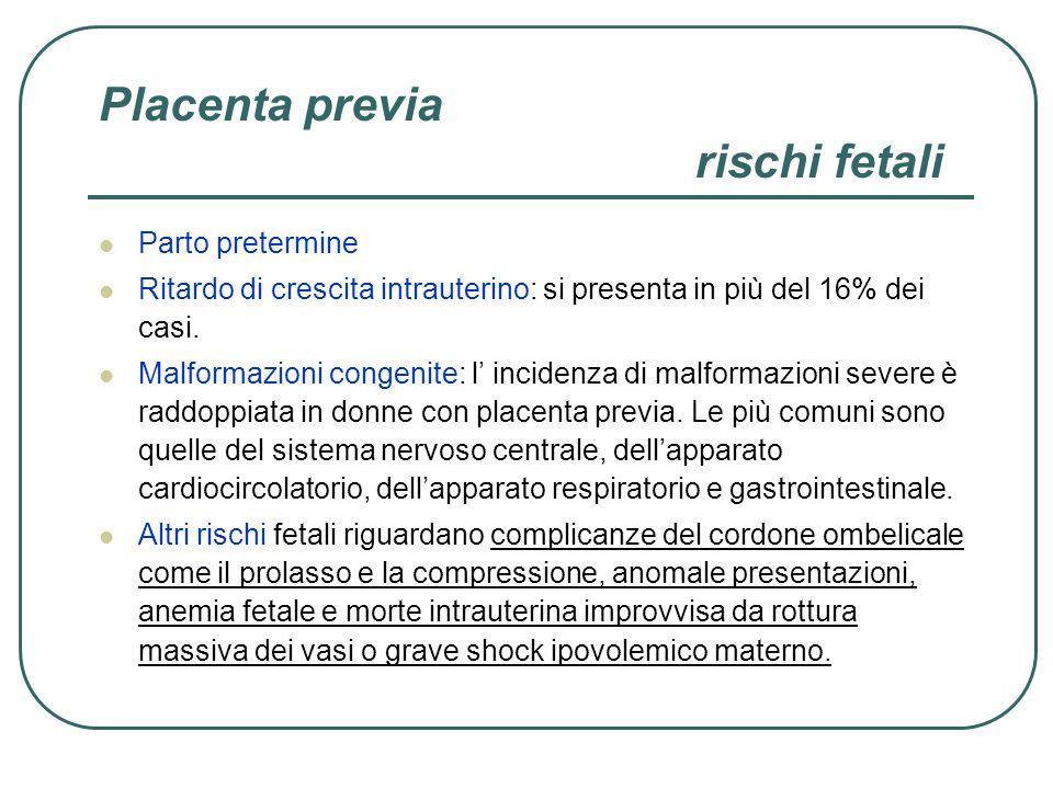 Placenta previa rischi fetali