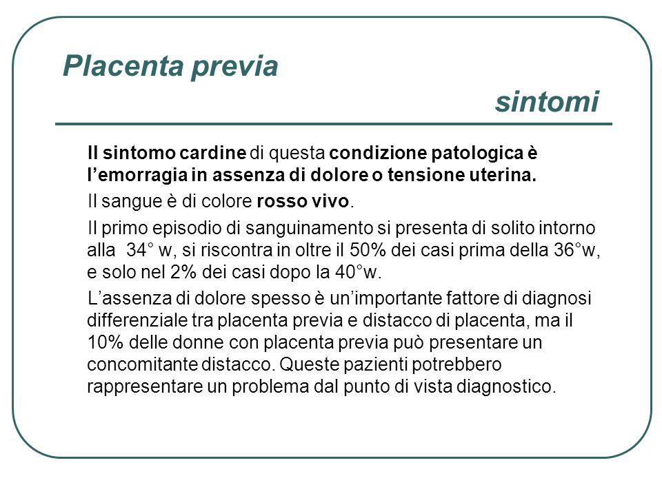 Placenta previa sintomi