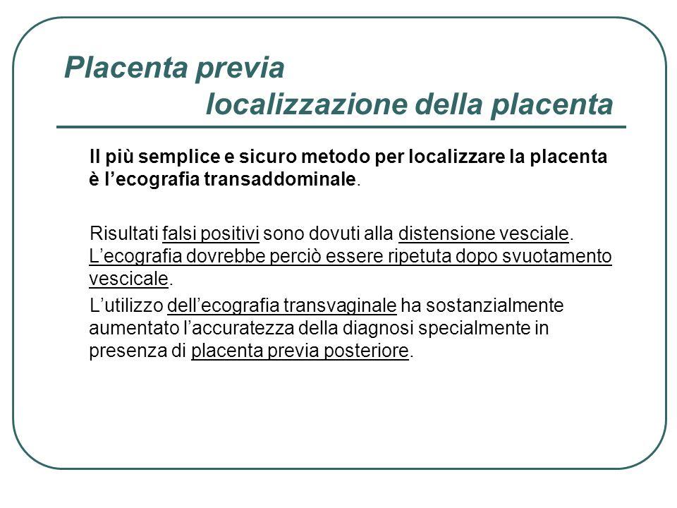 Placenta previa localizzazione della placenta