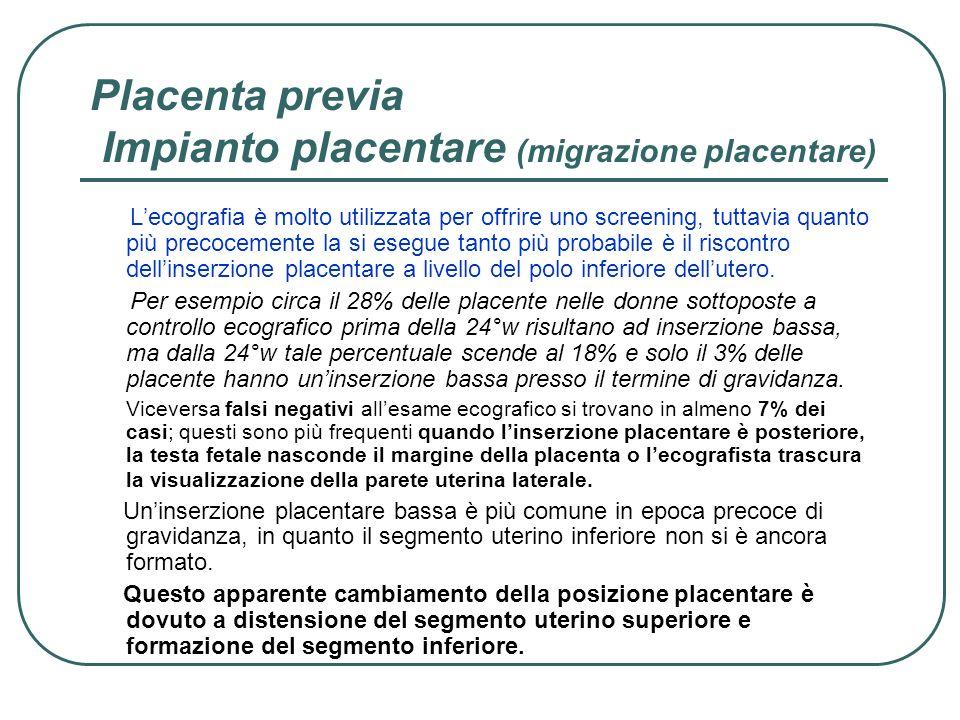 Placenta previa Impianto placentare (migrazione placentare)
