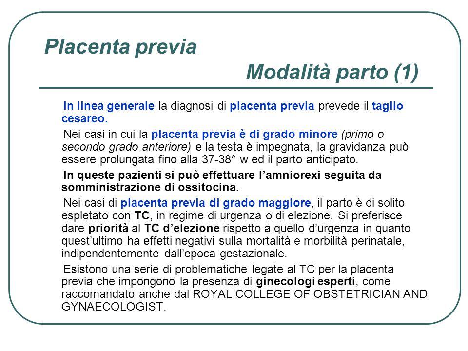 Placenta previa Modalità parto (1)