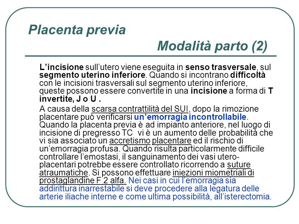 Placenta previa Modalità parto (2)
