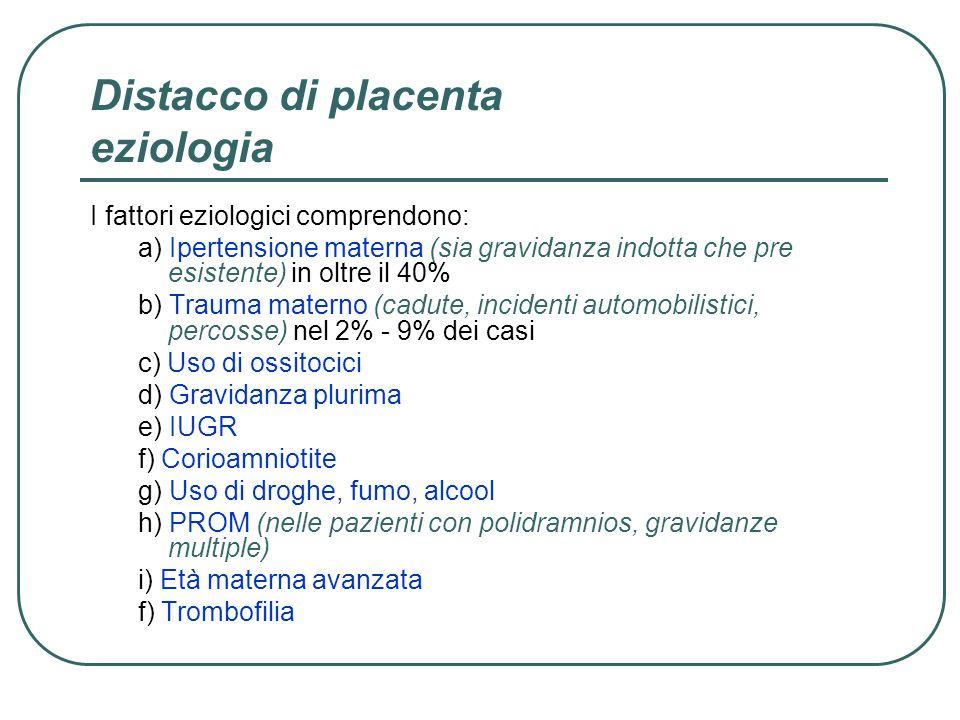Distacco di placenta eziologia