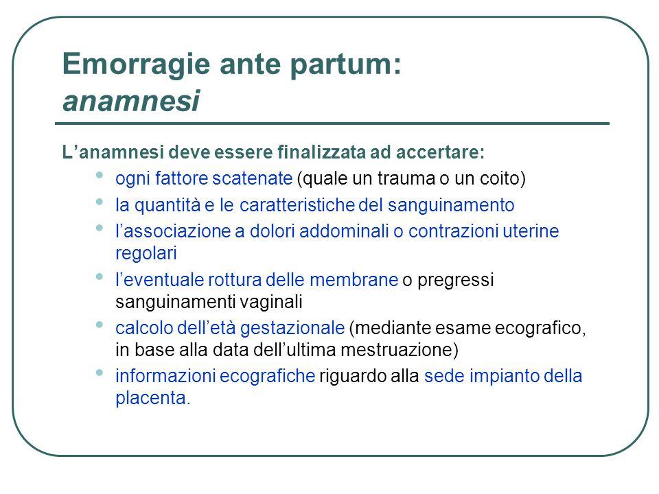 Emorragie ante partum: anamnesi