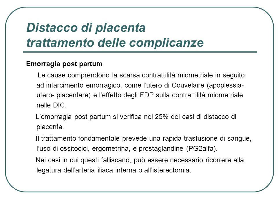 Distacco di placenta trattamento delle complicanze