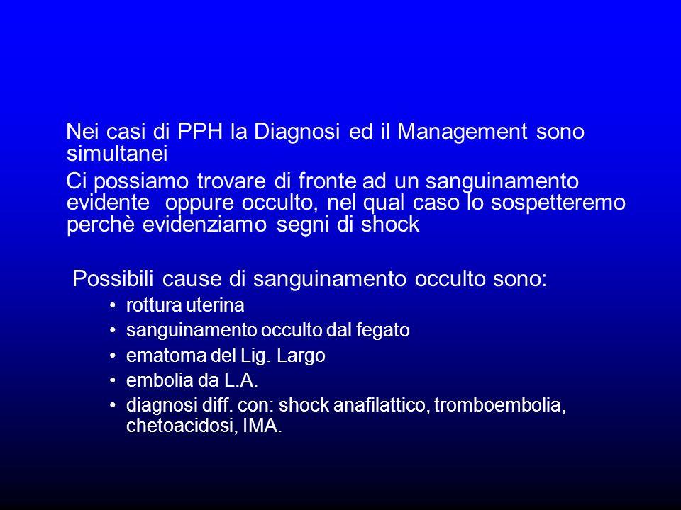 Nei casi di PPH la Diagnosi ed il Management sono simultanei